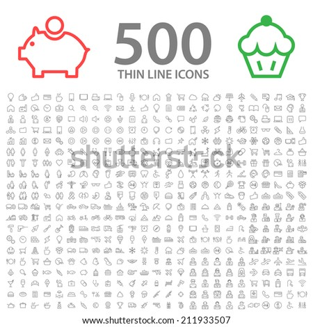 Set of 350 Standard Universal Minimal Modern Thin Stroke Black Icons on White Background. - stock vector