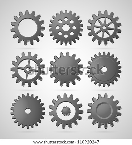 Set of steel differently shaped cogwheels - stock vector