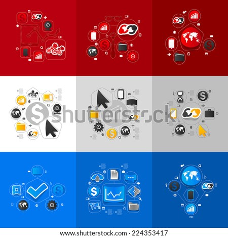 Set of sticker design. High-tech business concept - stock vector