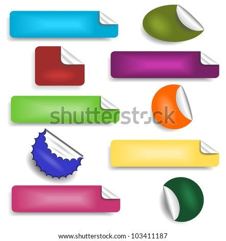 Set of stickers 1 - stock vector