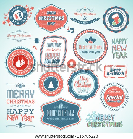 Set of stickers and elements for Christmas and New Year - stock vector