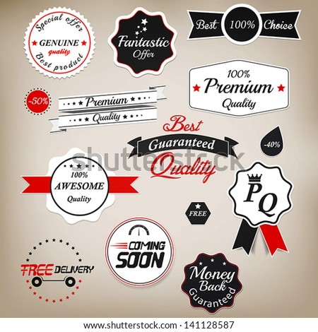 Set of stickers and ribbons. Vector - stock vector