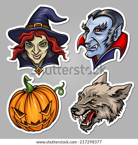 Set of stickers for Halloween design and decoration - stock vector