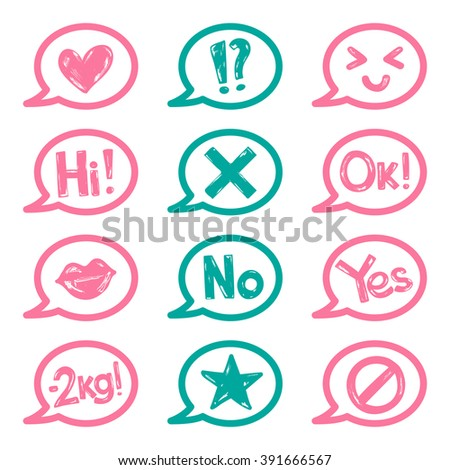Set of stickers for woman diary. Vector illustration with hand-draw doodles symbols: heart, star, lips, words and other. - stock vector