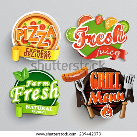 Set of stickers of food farm fresh,pizza, fresh juice and grill. Vector. - stock vector
