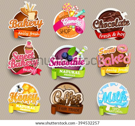 Set of stickers of food - farm fresh,pizza, fresh juice and grill, water, chocolate, coffee, smoothie, honey . Vector. - stock vector