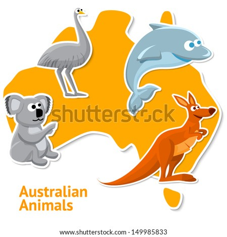 Set of stickers with australian animals with the map as a background. - stock vector