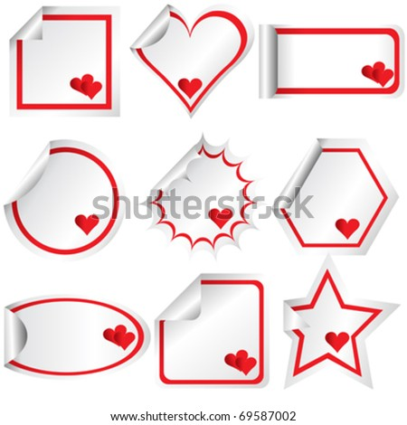 Set of stickers with hearts, for Valentine's day - stock vector
