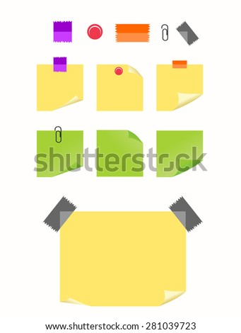 Set of sticky notes. Reminder. Memo. - stock vector