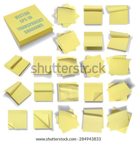 Set of sticky notes. Transparent shadows. Vector illustration. Eps 10. - stock vector