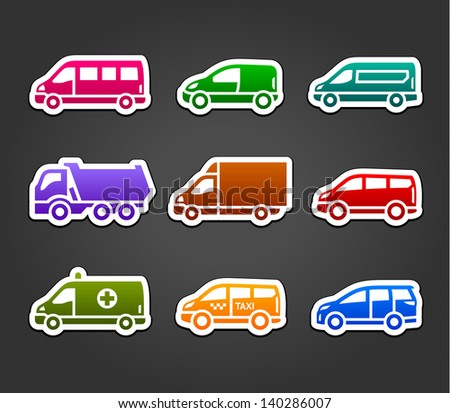 Set of sticky stickers, transport color signs, vector illustration - stock vector