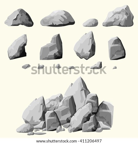 Set of stones, rock elements different shapes and shades of gray, cartoon style boulders set, flat design, isometric stones on white background, you can simply regroup rocks, vector   - stock vector