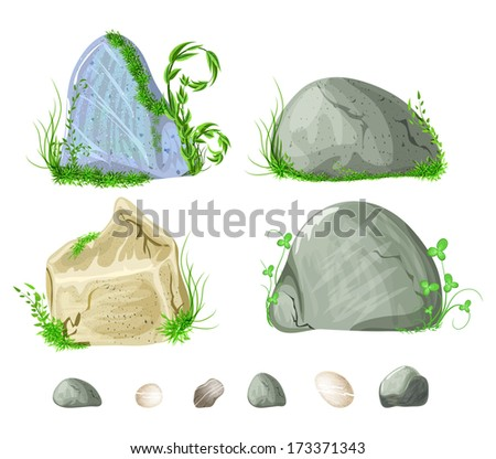 set of stones, rocks with grass, moss elements for design - stock vector