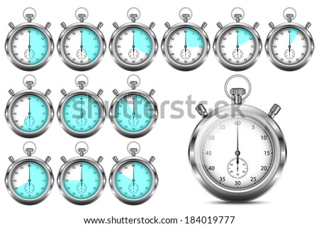 Set of stopwatches showing 5, 10, 15, 20, 25, 30, 35, 40, 45, 50, 55, and 60 seconds or minutes, vector, isolated on white background  - stock vector