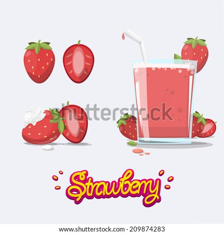 set of strawberry. juice. smoothie. whipped cream - vector illustration - stock vector