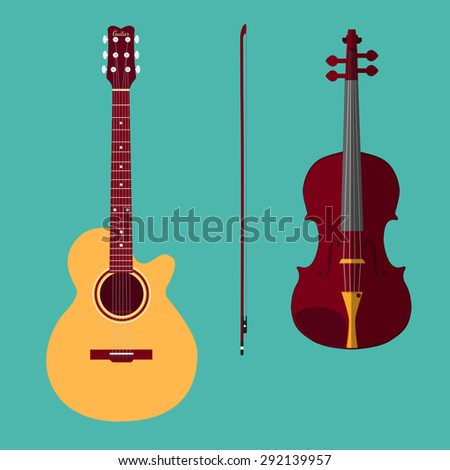 Set of string instruments. Classical violin with bow, classical guitar. Isolated musical instruments on teal background. Vector illustration in flat style design. - stock vector