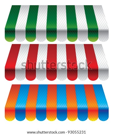 set of striped awnings for store - vector illustration - stock vector