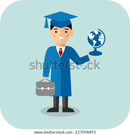 Set of students in graduation gown and mortarboard in background of education icons Illustration of graduates with background of education icons  - stock vector