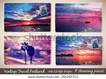 Set of 4 Stunning Vintage Postcard with old style look and ruined details like water drops and straps - stock vector