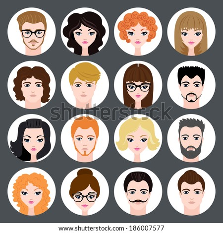 Set of stylish avatars of girls and guys in flat design. Vector illustration - stock vector