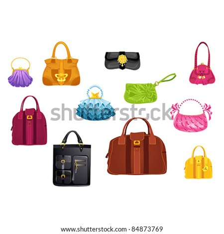 Set of stylish handbags - stock vector