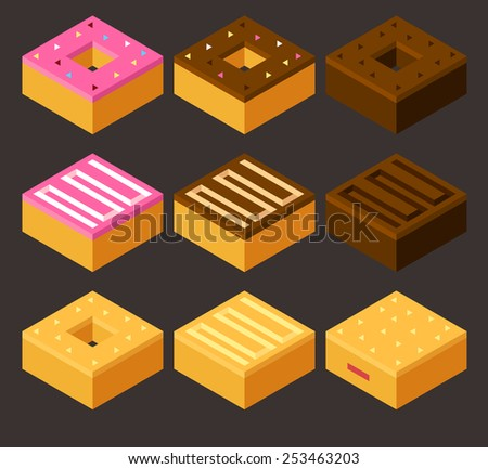 set of 9 stylish isometric donuts - stock vector