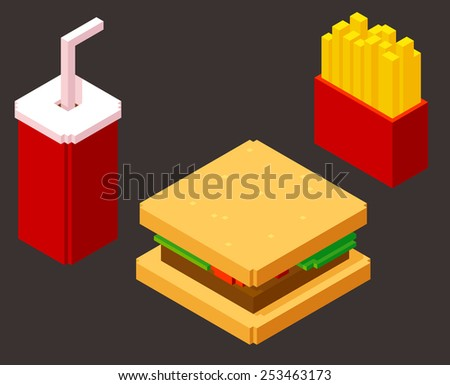 set of stylish isometric fast food items: burger, soda and french fries - stock vector