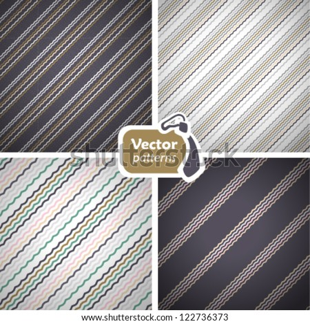 Set of 4 stylish seamless masculine patterns. Vector backgrounds - stock vector