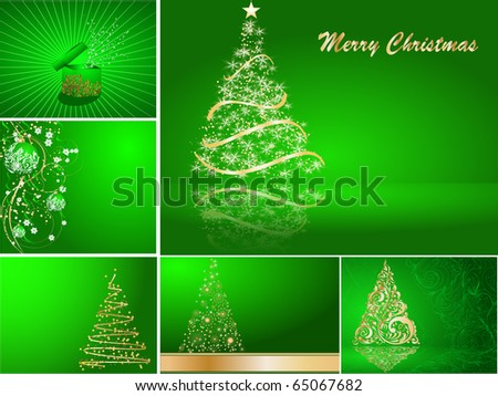 set of stylized Christmas card - stock vector