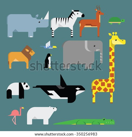Set of stylized endangered animals vector illustrations. - stock vector