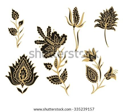 Set of stylized flowers - stock vector