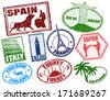 Set of stylized grunge travel stamps on white, vector illustration - stock vector