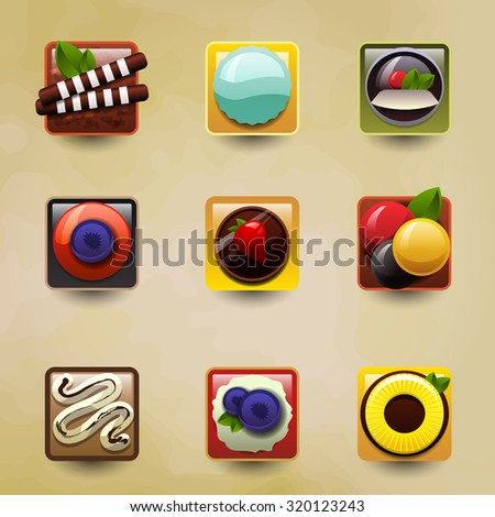 Set of stylized icons. Sweet colorful desserts with fruit, ice cream, cakes, sweets, chocolate and biscuit. Vector Illustration - stock vector
