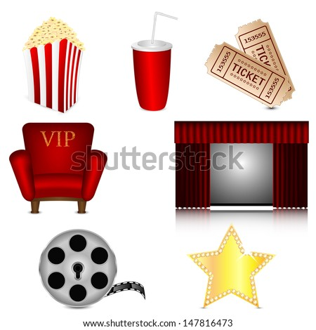 set of subjects for cinema isolated on white background.cinema icons.vector - stock vector