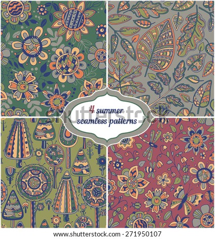 Set of summer backgrounds - Floral Seamless Patterns with hand drawn flowers, trees, leaves.  - stock vector