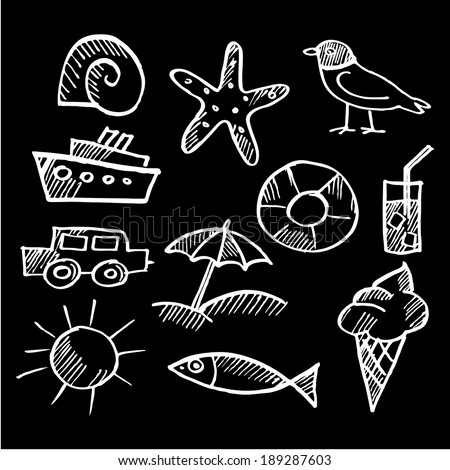 Set of summer chalk doodles, white sketches isolated on black background, vector illustrations - stock vector