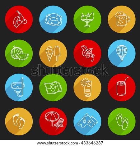 Set of Summer circle labels. Summer food, recreation, vacation icons. - stock vector
