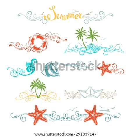 Set of summer design elements and page decorations. Bright vintage ornaments and page dividers for your tropical design.  - stock vector