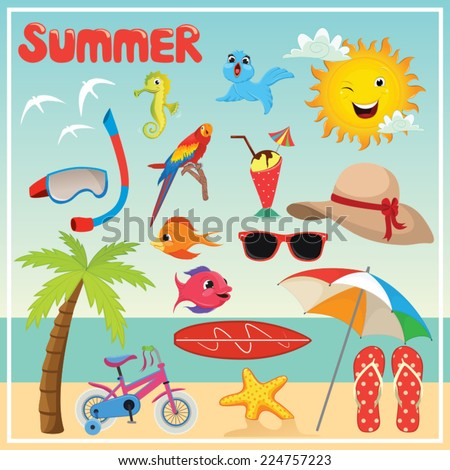 Set of Summer Elements and Illustrations - stock vector