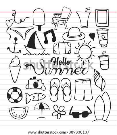 Set of summer icon with doodle style - stock vector