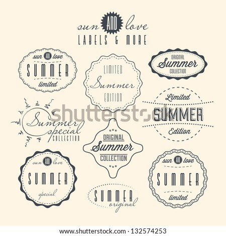 Set of summer related vintage labels. - stock vector