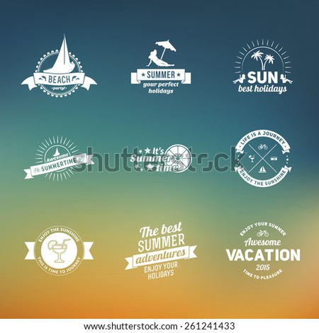 Set of summer retro design elements. Vintage ornaments and labels, tropical paradise, beach vacation, adventure and travel - stock vector