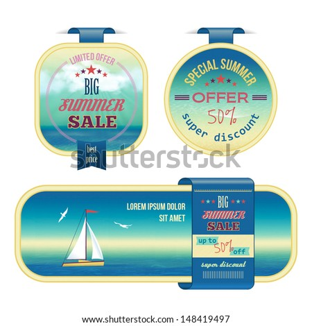 Set of summer sale labels, tags, stickers, banners in vintage style. Abstract Illustration in retro style with sea landscape, sky, cloud, yacht, gull, text. Original decorative vector design elements - stock vector