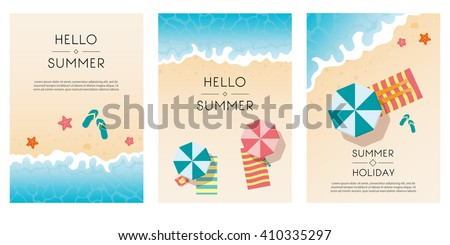 Set of summer travel flyers with beach items and wave. Top view. Vector illustration - stock vector