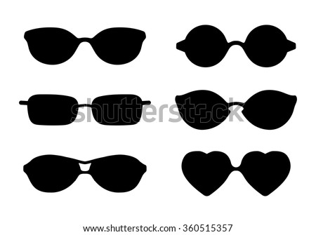 Set of sun glasses icons isolated on transparent background. Vector illustration. - stock vector