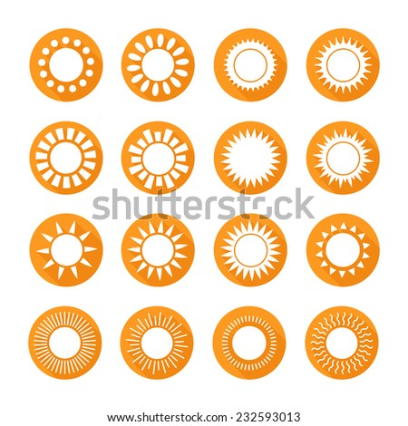 Set of sun icons,symbol,sign in flat style. Suns collection. Elements for design. Vector illustration. - stock vector