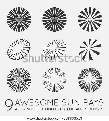 Set of Sunburst Vector Rays of Sun - stock vector