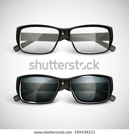 set of sunglasses and eyeglasses - stock vector