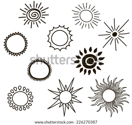 Set of suns - stock vector