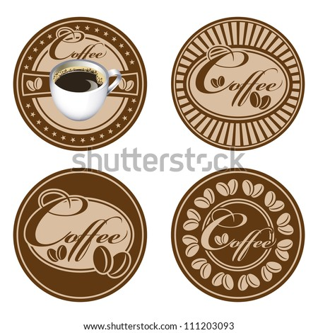 Set of support under a cup. All elements are grouped. Vector images for easy editing. - stock vector